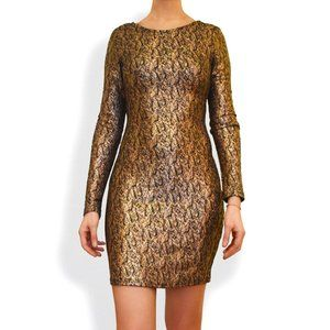 Long Sleeve Fitted Gold Dress
